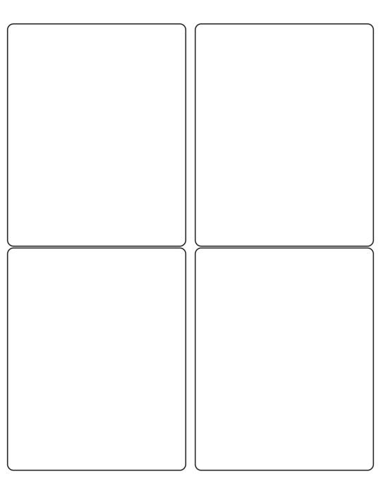 4 x 5 Rectangle White High Gloss Laser Label Sheet (Rounded Corners)