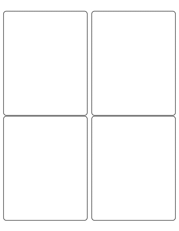 4 x 5 Rectangle Water-Resistant White Polyester Laser Label Sheet (Rounded Corners)