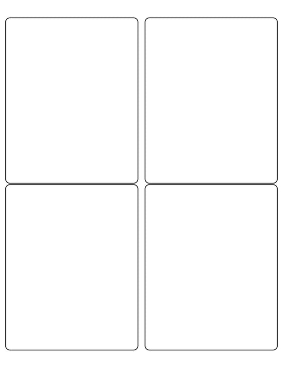 4 x 5 Rectangle White Label Sheet (Rounded Corners)