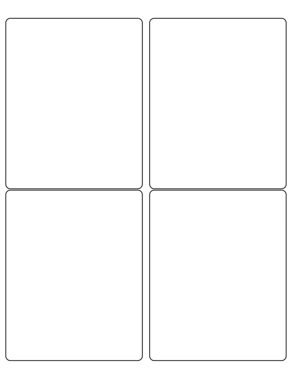 4 x 5 Rectangle Natural Ivory Printed Label Sheet (Rounded Corners)