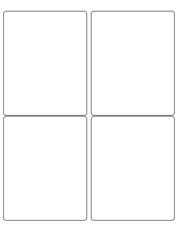 4 x 5 Rectangle Removable White Printed Label Sheet (Rounded Corners)
