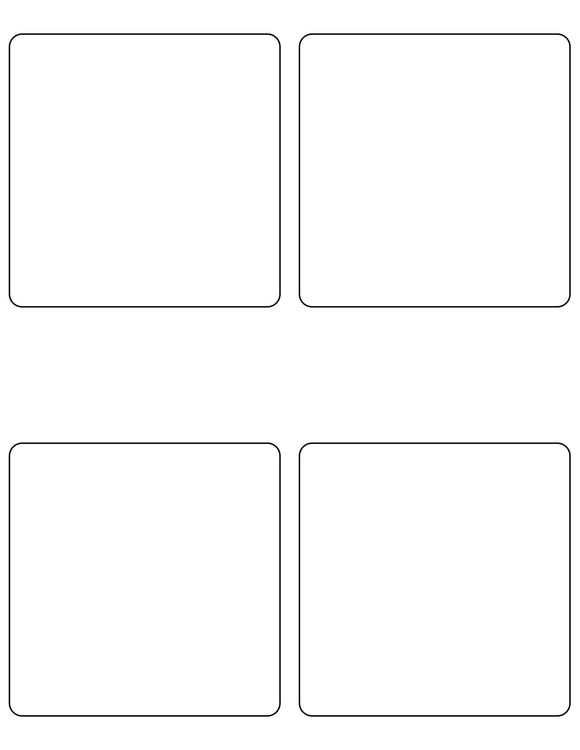 4 x 4 Square Removable White Printed Label Sheet