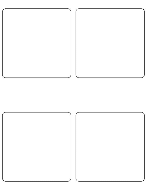 4 x 4 Square White High Gloss Printed Label Sheet