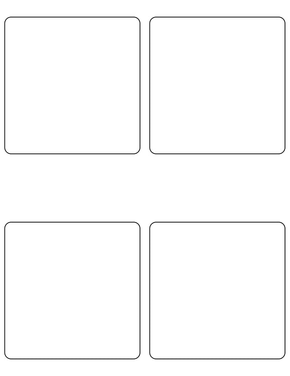 4 x 4 Square White Label Sheet