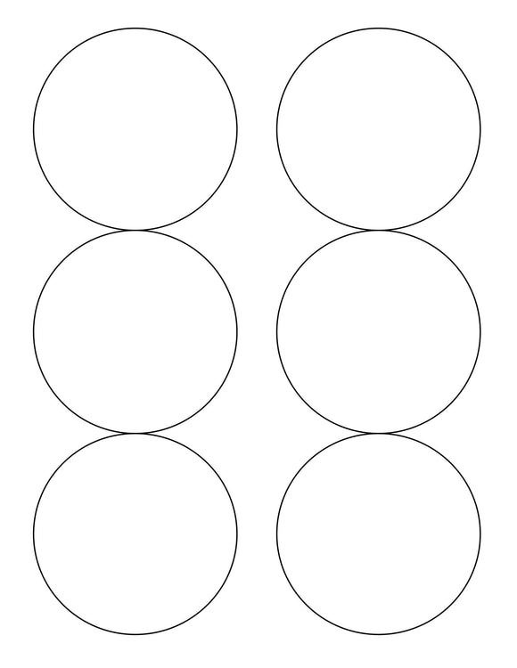 3 1/3 Diameter Round Natural Ivory Label Sheet