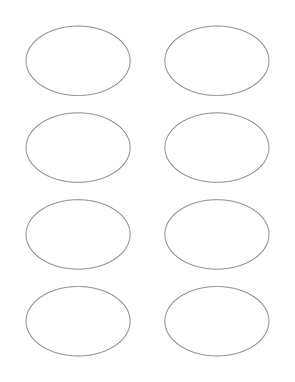 3 x 2 Oval White High Gloss Printed Label Sheet