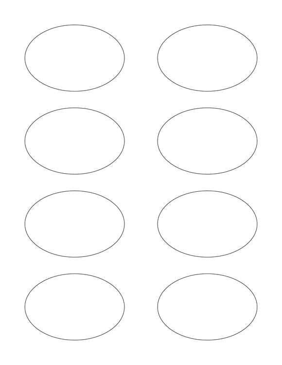3 x 2 Oval White Label Sheet