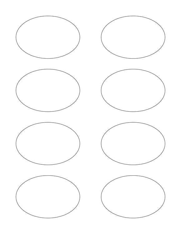 3 x 2 Oval White Printed Label Sheet