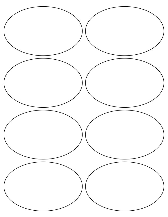 4 x 2 1/2 Oval White High Gloss Printed Label Sheet