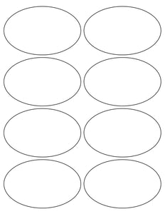 4 x 2 1/2 Oval White Label Sheet