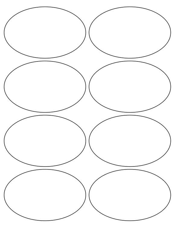 4 x 2 1/2 Oval White High Gloss Laser Label Sheet