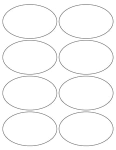 4 x 2 1/2 Oval Silver Foil Printed Label Sheet