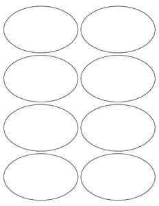 4 x 2 1/2 Oval White Printed Label Sheet