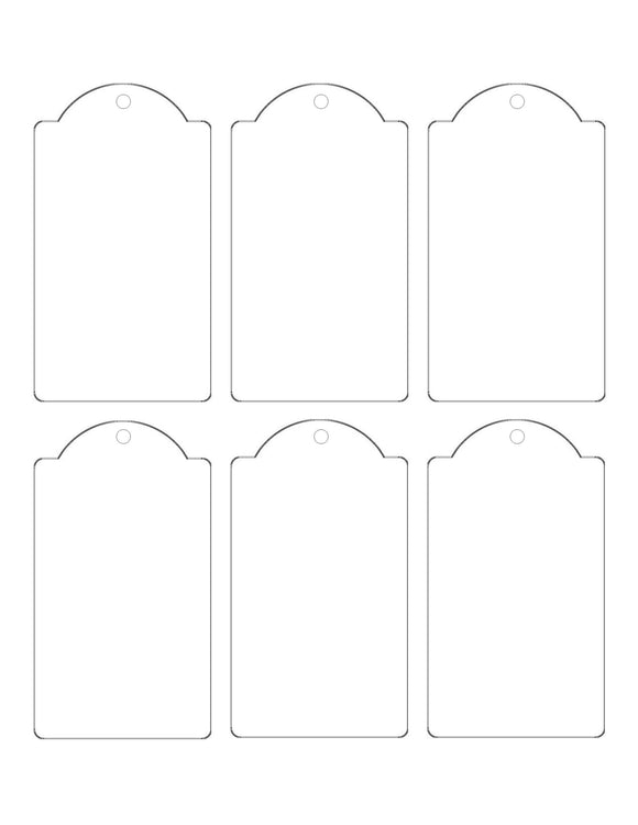 2.375 x 4.25 Dome-Top Rectangle White Micro-nikked Hang Tag Sheet w/ pre-drilled 3/16 hole THIN