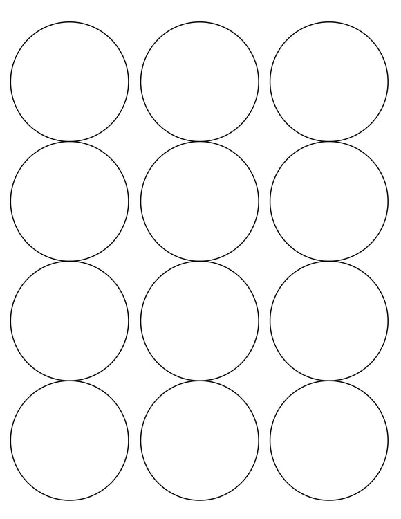 2 1/2 Diameter Round White Label Sheet (12 up)