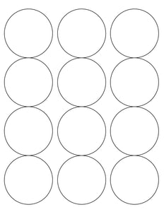2 1/2 Diameter Round White High Gloss Printed Label Sheet (12 up)