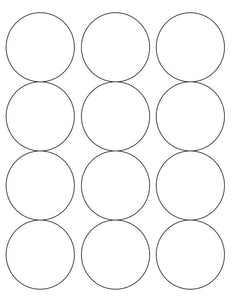 2 1/2 Diameter Round PREMIUM Water-Resistant White Inkjet Label Sheets (Pack of 250) (12 up)