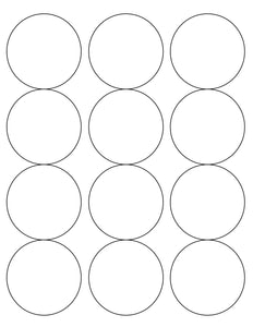 2 1/2 Diameter Round Removable White Label Sheet (12 up)