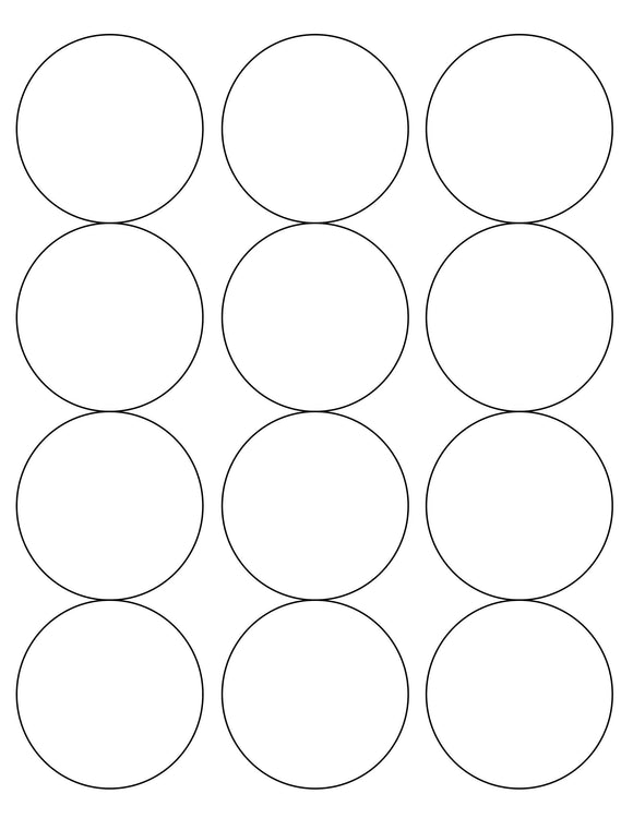 2 1/2 Diameter Round Water-Resistant White Polyester Laser Label Sheet (12 up)