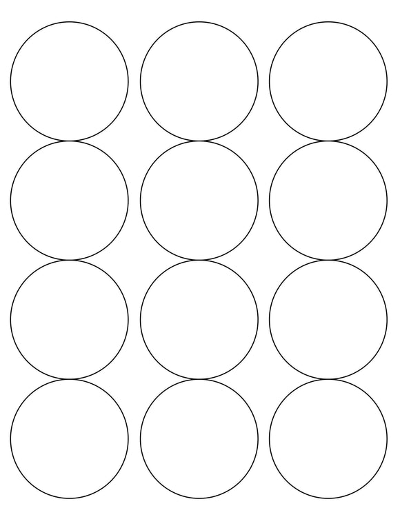 2 1/2 Diameter Round White Water-resistant Polyester Printed Label Sheet (12 up)