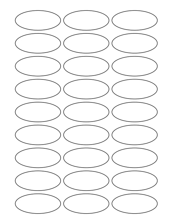 2 1/4 x 1 Oval White Printed Label Sheet