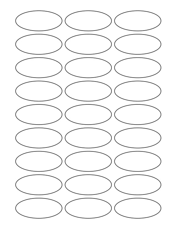 2 1/4 x 1 Oval Removable White Printed Label Sheet
