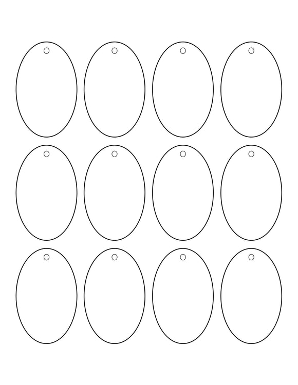 1.75 x 2.75 Oval Micro-nikked Hang Tag Sheet w/ pre-drilled 3/16 hole