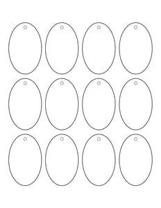 1.75 x 2.75 Oval Micro-nikked Hang Tag Sheet Custom Printed w/ pre-drilled 3/16 hole