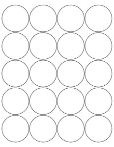 2 Diameter Round White Label Sheet