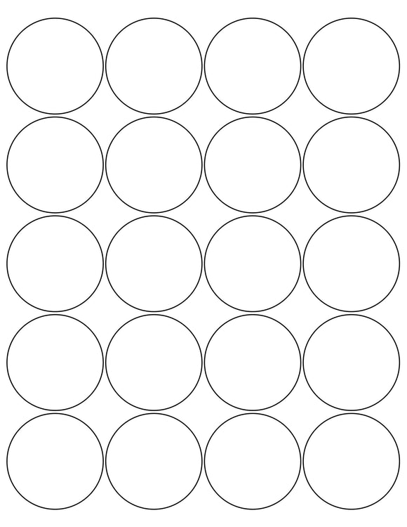 2 Diameter Round White High Gloss Printed Label Sheet