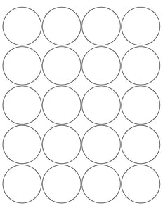 2 Diameter Round White Printed Label Sheet