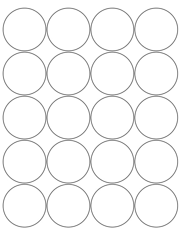 2 Diameter Round Natural Ivory Label Sheet
