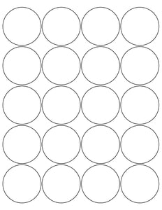 2 Diameter Round Removable White Printed Label Sheet