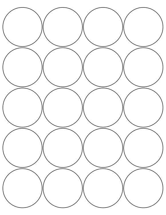 2 Diameter Round PREMIUM Water-Resistant White Inkjet Label Sheets (Pack of 250)