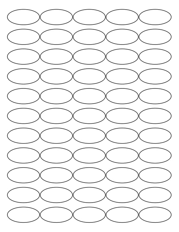 1 1/2 x 3/4 Oval White Printed Label Sheet
