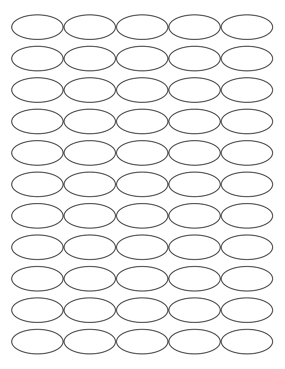 1 1/2 x 3/4 Oval Removable White Printed Label Sheet