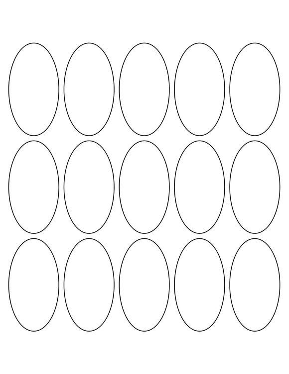 1 1/2 x 2 3/4 Oval White Label Sheet