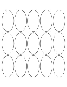 1 1/2 x 2 3/4 Oval Silver Foil Printed Label Sheet