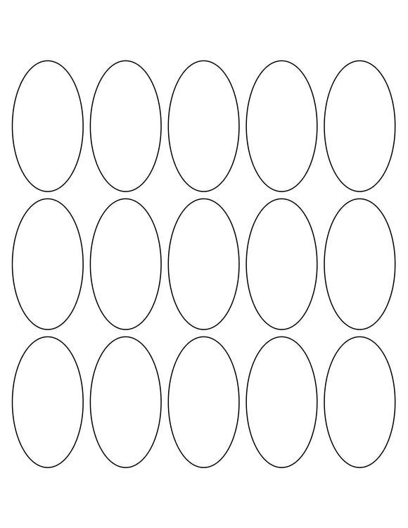 1 1/2 x 2 3/4 Oval White Printed Label Sheet