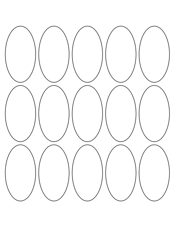 1 1/2 x 2 3/4 Oval Removable White Printed Label Sheet