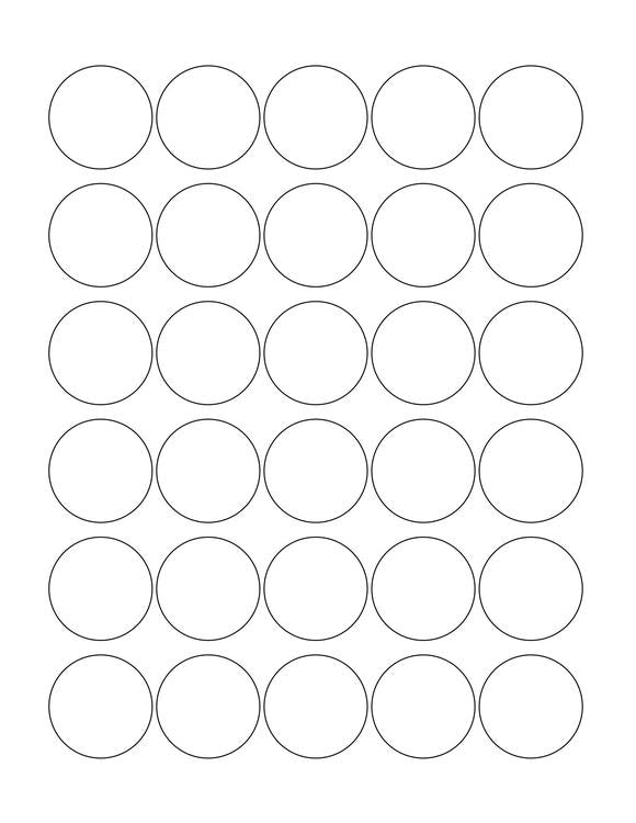 1.375 Diameter Round PREMIUM Water-Resistant White Inkjet Label Sheets (Pack of 250)