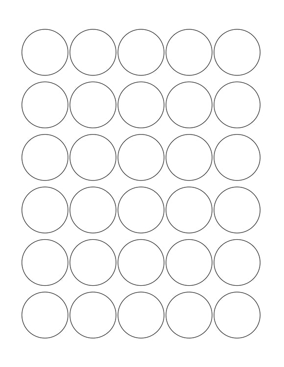 1 3/8 Diameter Round White Label Sheet