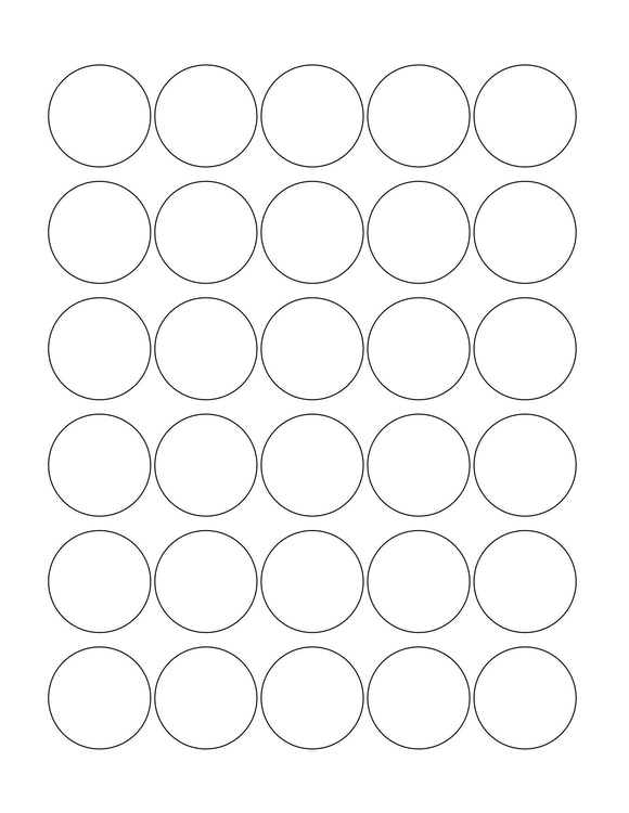 1 3/8 Diameter Round Clear Gloss Printed Label Sheet