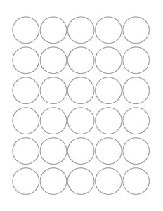 1 3/8 Diameter Round White High Gloss Printed Label Sheet