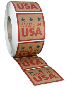 Square Brown Kraft Roll Label - Custom Printed