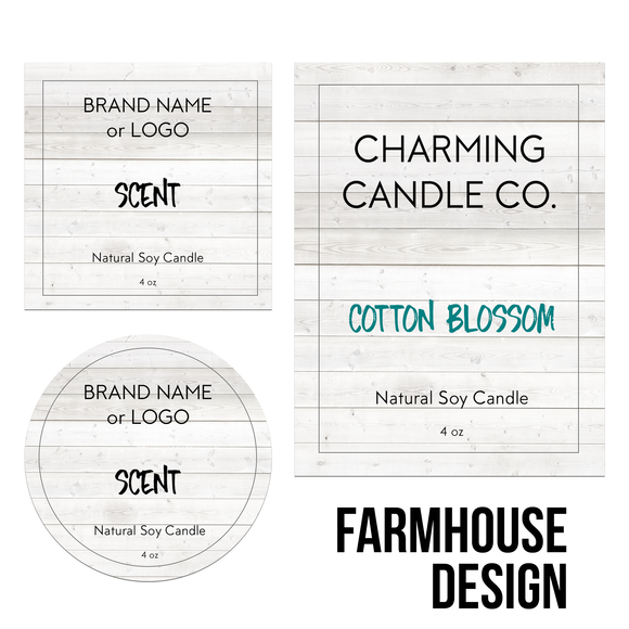 Quick Candle Label - Farmhouse Design
