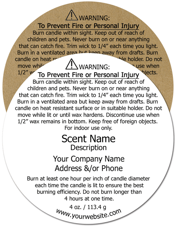 Candle Warning Label #2 - Round