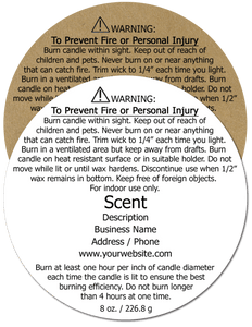 Candle Warning Label #3 - Round