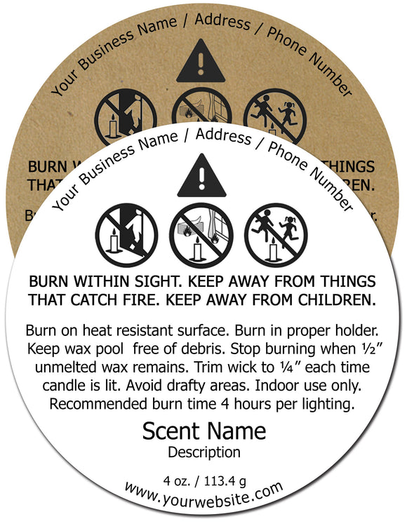 Candle Warning Label #5 - Round