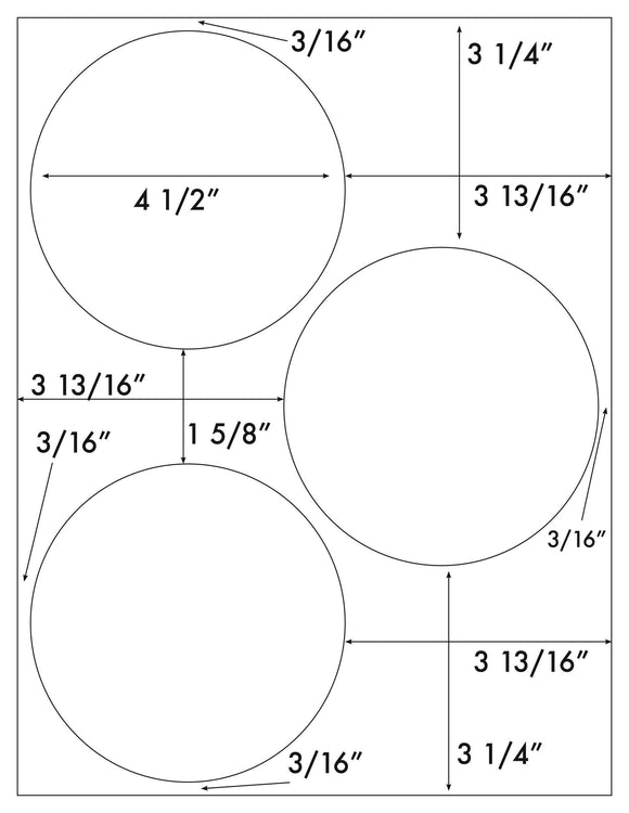 4 1/2 Diameter Round Removable White Printed Label Sheet